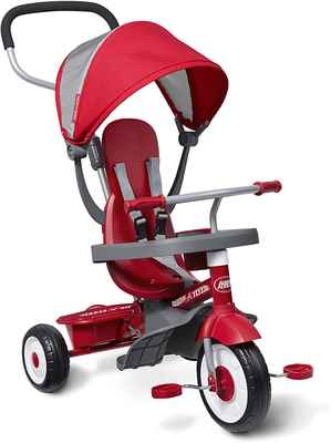 #7. Radio Flyer Ages 9 Months – 5 Years 4-in-1 Stroll 'N Trike Red Toddler Tricycle