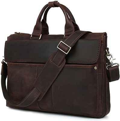 #6. Iswee Men 16'' Briefcase Leather Messenger Bag Laptop Case Tote Attache Case Shoulder Bag