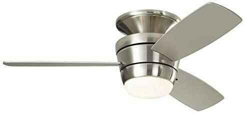 #7. HARBOR BREEZE 44'' 3 Blade Indoor Flush Mount Ceiling Fan w/Light (Brushed Nickel)