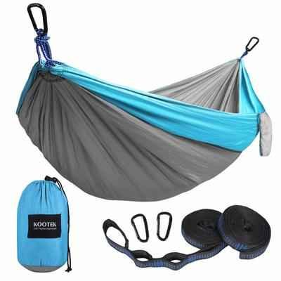 6. Kootek Lightweight Nylon Parachute 2 Tree Straps Double & Single Portable Camping Hammock