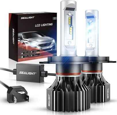 #2. SEALIGHT 6000K 6000 LM H4 9003 HB2 Low Beam Xenon Dual High White LED Headlight Bulbs
