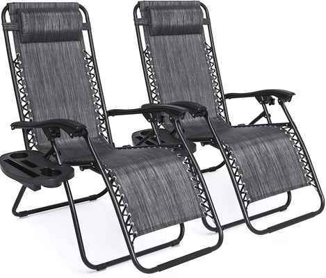 #1. Best Choice Zero Gravity Foldable Adjustable Mesh Seating Set of 2 Lounge Chair (Grey)