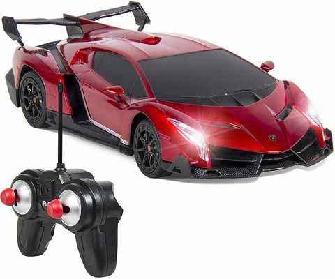 #8. QUN FENG Lamborghini Veneno RC 1:24 Scale Hobby Grade Electric RC Car for Kids Adults (Red)
