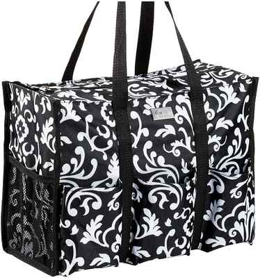 #10. Pursetti Paisley-Large Multi-Purpose Teacher Bag w/6 Pleated Exterior Pockets Tote