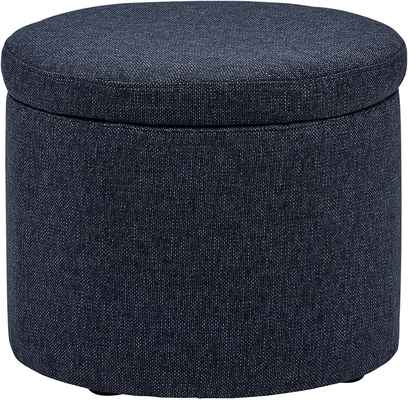 #1. Amazon Brand Rivet Denim 19.7'' W Lift Top Storage Modern Madison Round Tray Ottoman