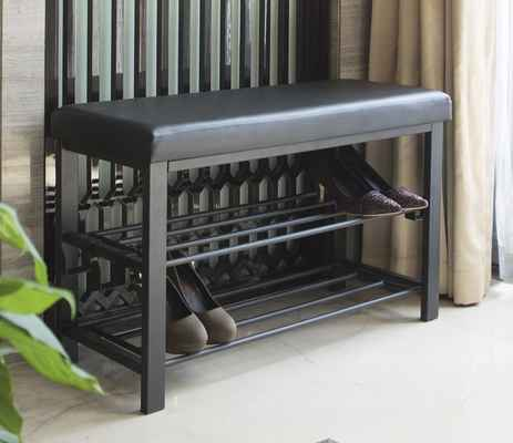 #5. Finnhomy 2 Shelves Entryway Shoe Rack w/Cushioned Seat & Faux Leather Bench (Black)