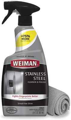 #8. Weiman 22 Oz Stainless Steel Cleaner & Polish with Microfiber Cloth for Cleaning Oven Grill