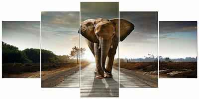 1. Wieco Art Elephant Extra-Large 5-Panels Grey Modern Canvas Wall Art for Living Room