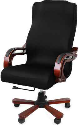 #3. CAVEEN Large Universal Boss Chair Modern Style High Back Office Chair Cover (Black)