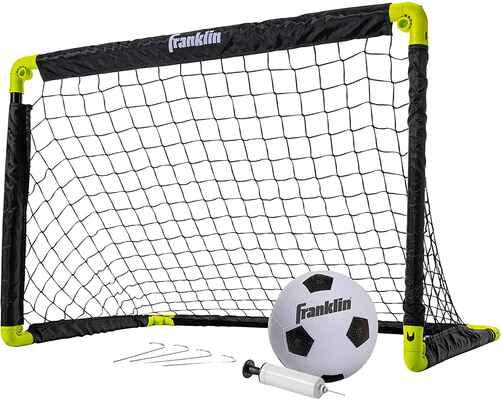 #9. Frankin Sports 36'' x 24'' Mini-Net & Ball Set w/Pump Portable Folding Youth Soccer Goal Set