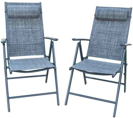 #1. PatioPost Set of 2 Outdoor Adjustable Folding Recliner Aluminum Patio Sling Chairs
