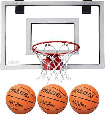 #4. GoSports Shatterproof Backboard Breakaway Action Rim Indoor Basketball Hoop w/3 Balls & Pump