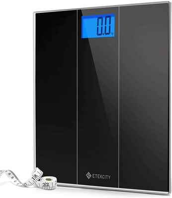 #5. Etekcity Stepon Digital Body Tape Measure Weight Bathroom Scale (Elegant Black)