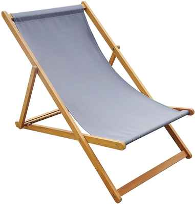 #7. Amayo Home Canvas Adjustable Solid Eucalyptus Wood Foldable Sling Chair Garden