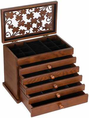 #4. SONGMICS Large 6-Layer & 5 Drawers Wooden Jewelry Organizer (Dark Brown)