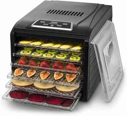 #6. Gourmia GFD 1650 6 Drying Trays Digital Timer & Temperature Control Electric Food Dehydrator