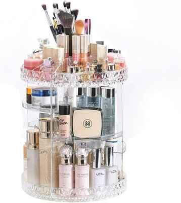 #8. DreamGenius 360-Degree Rotating Transparent Multi-Function Adjustable Makeup Organizer