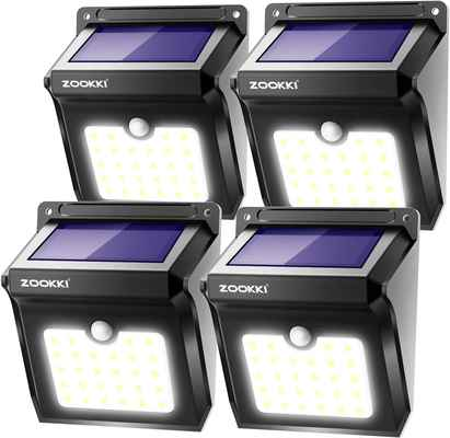 #4. ZOOKKI 28 LED Wireless IP65 Waterproof 4 Pack Outdoor Solar Light for Garden Patio