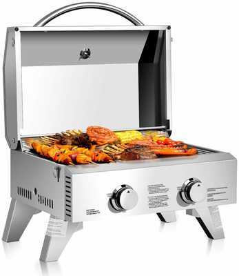 #3. Giantex 20,000 BTU Foldable Leg Stainless Steel Two Burner Propane Tabletop Gas Grill