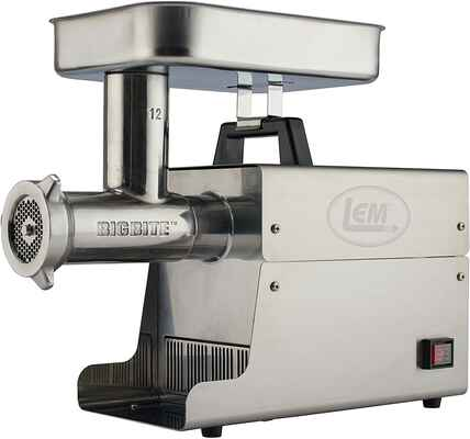 #1. LEM Modernized Brushed Stainless Steel 75HP Grinder Rifling Pattern Big Bite Electric Meat Grinder