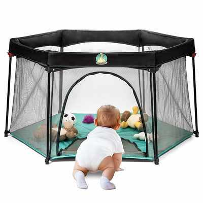 #6. BABYSEATER Portable Lightweight Mesh Easily Opens Baby Playpen (Turquoise)