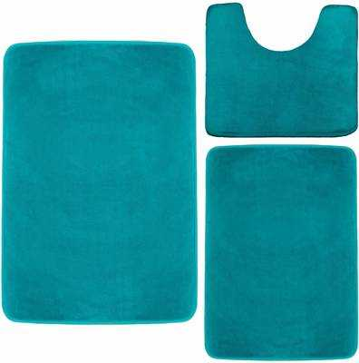 #2. Clara Clark Set of 3 Soft Non-Slip Memory Foam Absorbent Bath Mats (Small/Large/Contour, Teal)