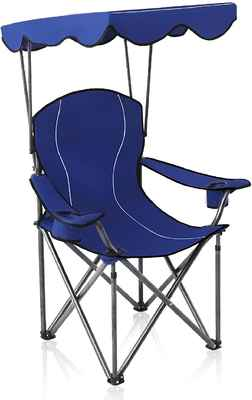 #7. ALPHA CAMP 350lbs Folding Camping Recliner Support Camp Chair w/Shade Canopy Chair