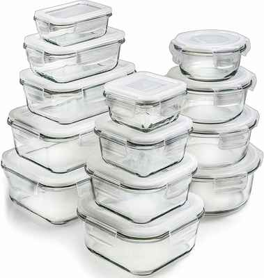 #10. Prep Naturals 26-Pcs Airtight Glass Containers w/Lids Glass Food Storage Containers Meal Prep