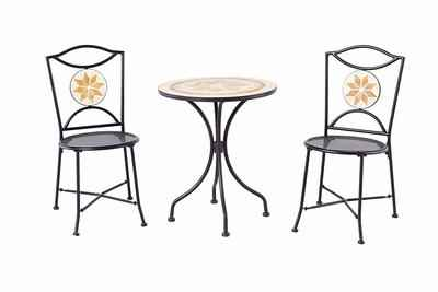 5. Backyard Ashland 3 Pcs Round Table & Mesh Chairs Compact Mosaic Outdoor Set