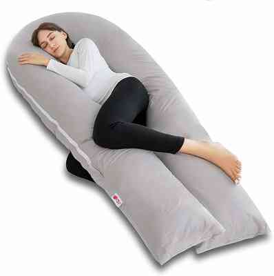 #1. Meiz 300TC Comfy Cotton & Microfiber King-Size Back Support Full Body Pregnancy Pillow (Grey)