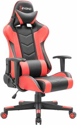 #5. Devoko Adjustable Height High-Back with Headrest & Lumbar Support Computer Gaming Chair (Red)