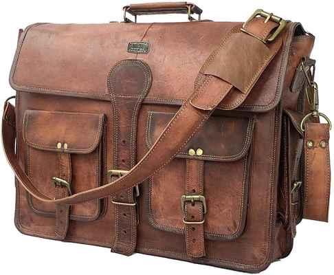 #8. Cuero DHK 18'' Handmade Vintage Leather Messenger Laptop Briefcase Bag (Dark Brown)