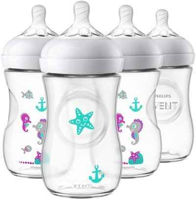 4. PHILIPS AVENT SCF659/47 Seahorse Design 9 Oz. 4 Pcs Ultra-Soft Nipple Natural Baby Bottle
