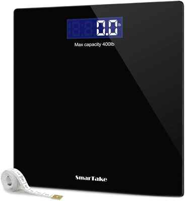 #8. SMARTAKE 400 Pounds Tempered SmartTake Precision Digital Bathroom Weighing Scale (Black)