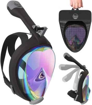#8. ALEORON Men & Women Anti-Fog Foldable Full Face Snorkel Mask for Youth & Adults