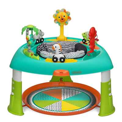#5. Infantino 6 Engaging Toys 3-Adjustable Height 2-in-1 Spin & Stand Entertainer Baby Activity Table