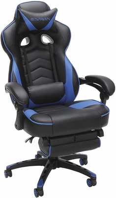 #4. RESPAWN RSP-110-BLU Racing Style Reclining Leather with Footrest Computer Gaming Chair (Blue)