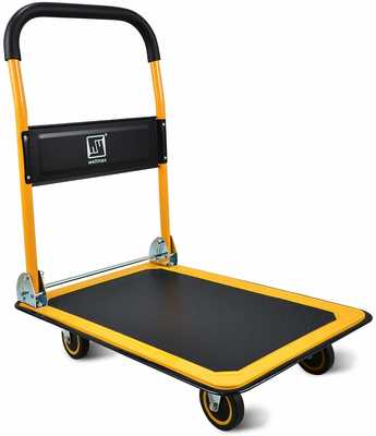#8. Wellmax Push Cart 330lb Weight Capacity 360 Degree Swivel Wheels Folding Hand Truck (Yellow)