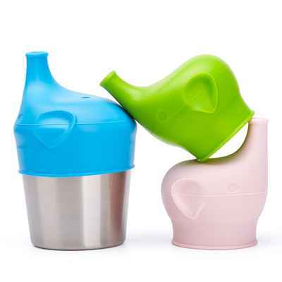 #6. BBBiteMe Spill-Proof BPA-Free Elephant Baby Universal Silicone Sippy Cup Lids
