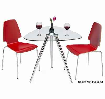 6. Mango Steam Lisbon 3-Sided Modern Tempered Glass Top & Stainless Steel Legs Table