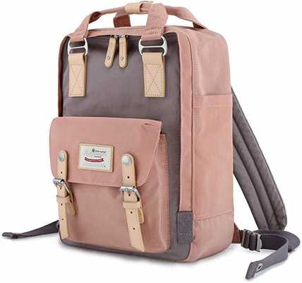 #8. Himawari Waterproof 14.9'' Travel College Vintage Backpack for Students (Pink, Grey)
