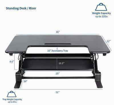 9. VIVO Black Desk VOOOV 36-Inch Dual Monitor Height Adjustable Stand Up Desk Converter