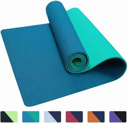 #4. IUGA Thick Eco-Friendly Non-Slip Textured Pilates & Fitness Yoga Workout Mat w/Carrying Strap