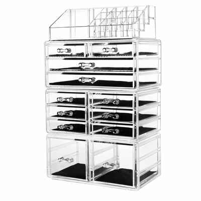 #7. HBlife 4Pcs Plastic Clear Polished Free-Standing Acrylic Makeup Organizer Cosmetic Storage Drawers