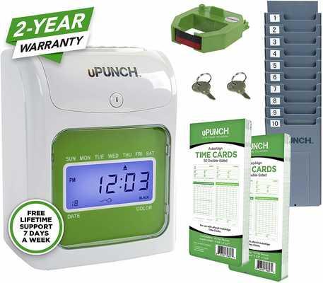 #4. uPunch Starter HN1500 1 Hour Card Rack 1 Ribbon 100 Cards Time Clock Bundle