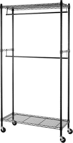 #2. Amazon Basics 72'' Height Double Hanging Closet Organizer Rack w/Rod Garment Rolling