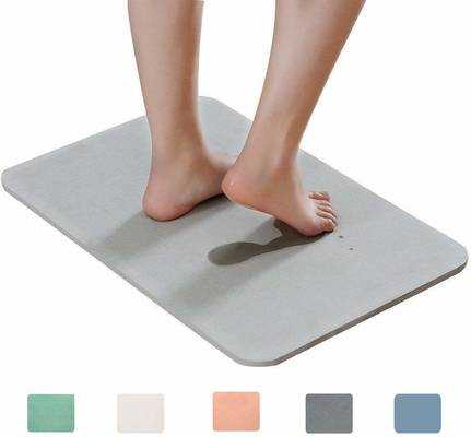 #3. Marbrasse Absorbent Japanese Design Non-Slip Self-Refreshing Hard Absorbent Bath Mat (Grey)