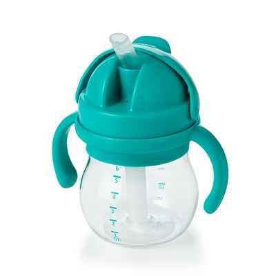 #10. OXO 6 Oz Tot Transitions Straw Cup Non-Slip Grip w/Removable Handles (Teal)