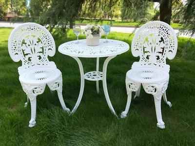 4. Venteriam 3 Pcs Cast Aluminum Bistro All-Weather Outdoor Patio Furniture Set (Ivory White)