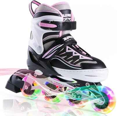 #5. 2PM SPORTS Fun Flashing Cytia Pink Adjustable Light up Inline Skates